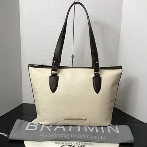 BRAHMIN NEW Medium Asher CREME ST GERMAINE Leather